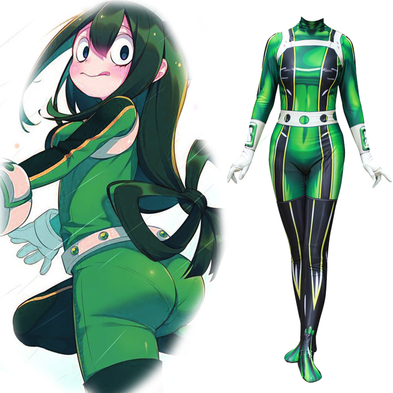 my hero academia asui tsuyu cosplay costume jumpsuits zentai combat suit spandex lycra halloween costume in anime costumes from novelty special use on