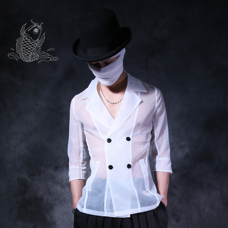Casual Summer Mens Lapel Collar Double-breasted T-Shirt Dust Coat Silk Sheer Rock Tops Slim Fit Cool 2Colors