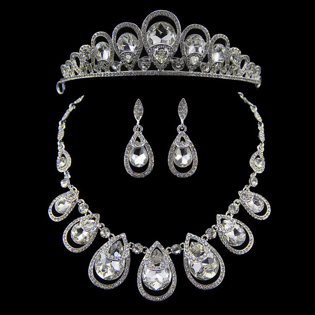 Fine Cubic Zirconia Crystal Silver Plated Waterdrop Bride Earrings Necklace Tiara Crown Wedding Accessories Bridal Jewelry Sets