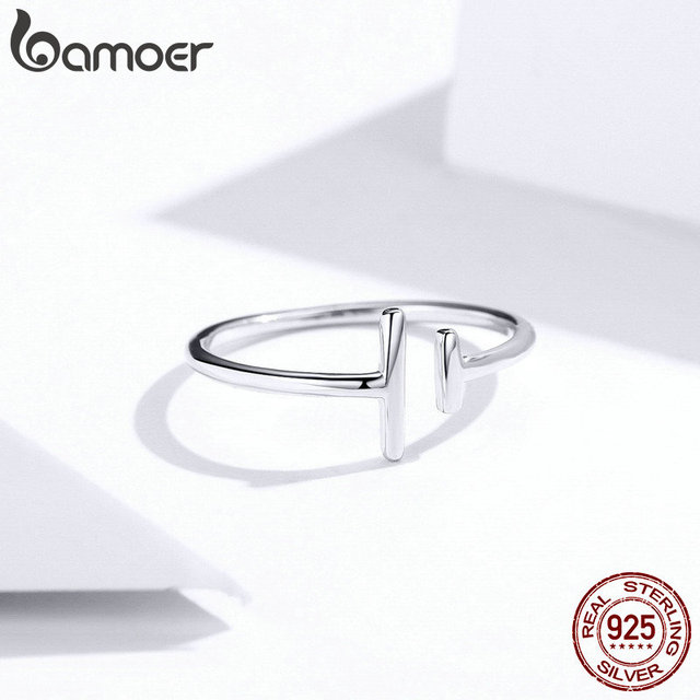 bameor Authentic 925 Sterling Silver Simple Minimalist Open Adjustable Finger Rings for Women Fashion Band Female Bijoux SCR555 4