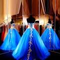 Custom Made Querida Mangas vestido de Baile de Tule Para 15 Anos Vestidos De Azul Royal Vestidos Quinceanera