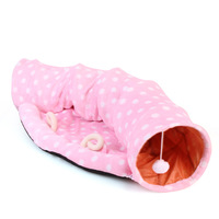 New Cat Tunnel Toy Foldable Long Kitten Play Tunnel Tubes Collapsible Cat Bed Mat with Toy Ball Pet Warm Plush Fabric Homes
