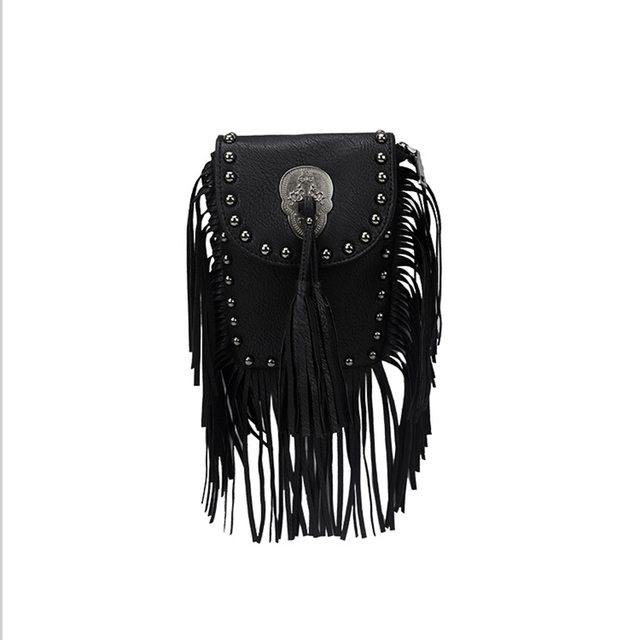 Rock Style Cool Girl Tessel Messenger Bag personality Trendy Handbag Skeleton Head Shoulder&Crossbody Bags Street Punk Lovers