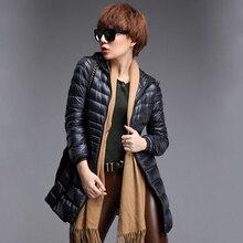 Женская 90% белая утка пуховик женщины ultra light вниз куртки зима с капюшоном тонкий теплый длинное пальто верхняя одежда плюс размер S-6XL