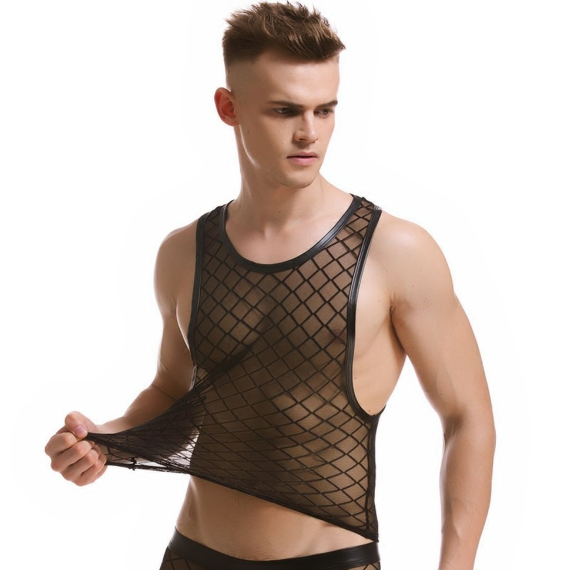 men's sexy Black Plaid Fishnet   Tank     Tops   Gay bar Performance shirt Fitness Mesh transparent undershirts Vest size XXL