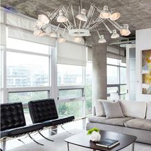 Modern Fashionable Spider- Chandelier Art Deco Iron Personalized pendant Retractable Lamp 12 Heads E27led Bulbs white black lamp