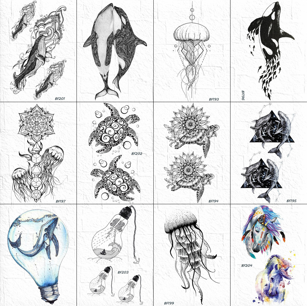 VANKIRS 3D Small Indians Tortoise Tattoos Stickers Women Body Arm Neck Jellyfish Flower Tattoos Temporary Whale Unicorn Tatto