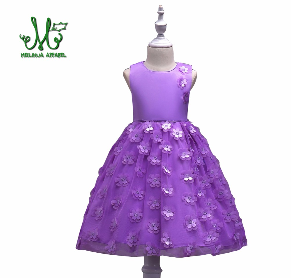 Flower Petals Girls Party Dress Children Wedding Girl Purple pink Dresses Designs Prom Gown Princess Costume for 3 5 6 8 10 year summer 2017 new girl dress baby princess dresses flower girls dresses for party and wedding kids children clothing 4 6 8 10 year