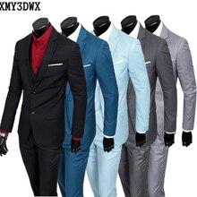 (Jaqueta + colete + calça) 2017 Nova primavera dos homens da marca slim fit Negócios um três-piece Ternos/Masculino bom noivo vestido/homens Blazers