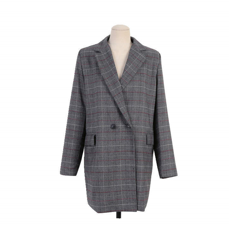 Fashion Big size Autumn Winter Women Blazers And Jackets Vintage Long Sleeve Plaid Large Size Female Blazer Pockets Button J743