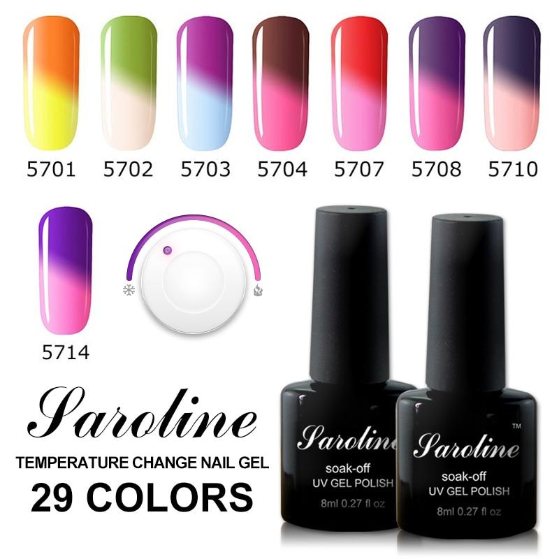 Saroline UV Gel Stencils Nails Semi-permanent Nail Art Led Gel Varnish Temperature Changing Color Gel Nail Polish