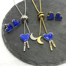 New Heart Stainless Steel Jewelry Set Star Moon Necklace Earring Women Pendant Charms Wedding Birthday Party Mother's Day Gift(China)