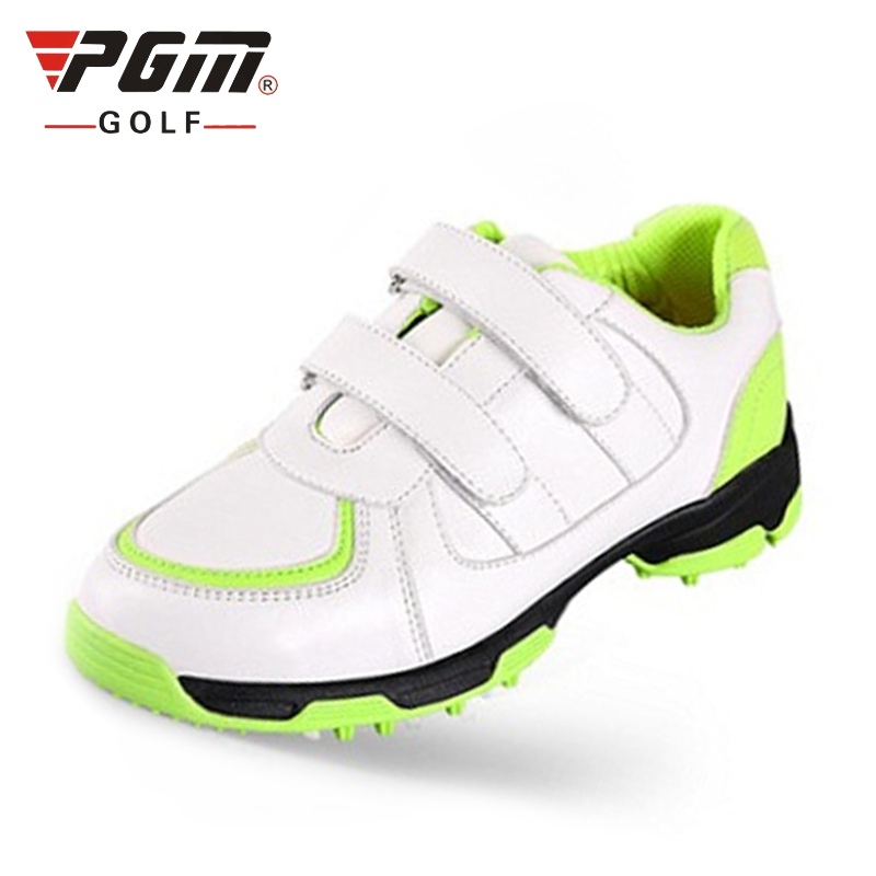 PGM Professional Boys and girls Golf Shoes Waterproof Soft Golf Sneakers Kid 3D breathable slot anti-skid patent golf shoes lovely toddler first walkers baby boys and girls cotton shoes soft bottom hook sneakers i love mom dad