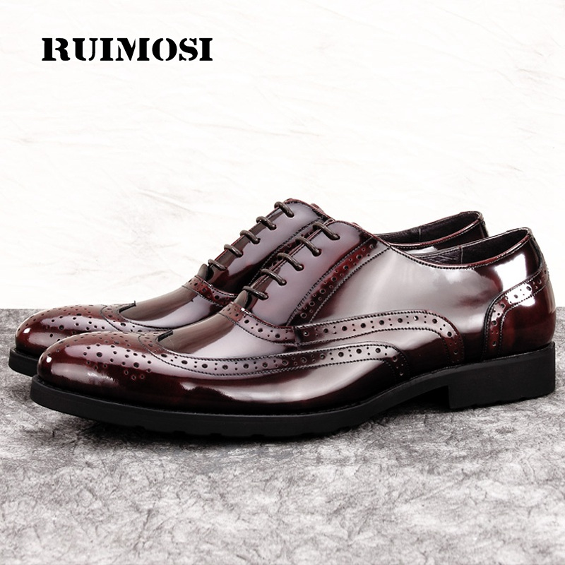 RUIMOSI Vintage Man Party Brogue Shoes Patent Leather Formal Dress Wedding Oxfords Round Toe Men's Luxury Wing Tip Flats MG41