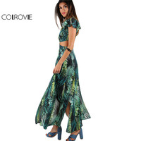 COLROVIE Foliage Print Maxi Dress 2017 Green Twist Cutout M Slit Beach Summer Dresses Women V