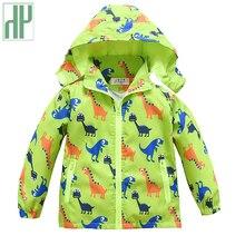 Kids jacket Boys Girls Spring Autumn Cartoon Dinosaur Print Children Trench Jacket Outwear baby Coat Hooded Windbreaker