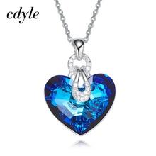 Cdyle Embelezado com cristal Pingente Azul AB Cor Em Forma de Coração Na Moda Engagement Bijoux Jóias Sexy Lady