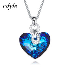 Cdyle Embellished with crystal Pendant Blue AB Color Heart Shaped Trendy Engagement Jewelry Bijoux Sexy Lady(China)