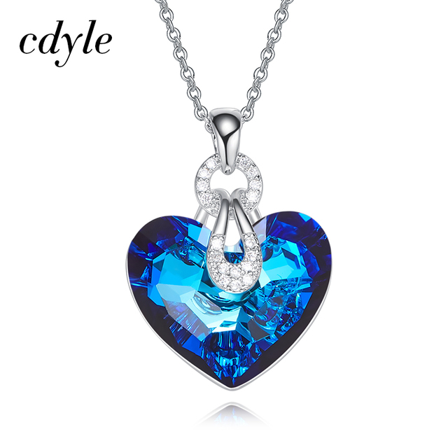 Cdyle Embellished with crystal Pendant Blue AB Color Heart Shaped Trendy Engagement Jewelry Bijoux Sexy Lady