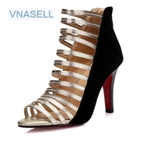 Size 30 43 High Quality 2015 Summer Fashion Women Sexy Genuine Leather Red Bottom High Heels