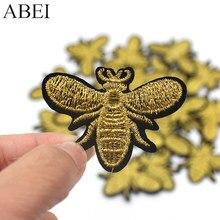 10 pçs/lote qualidade Bordado Inseto Ouro Patches Ferro Em Roupas Da Moda calças de Brim Mochila Adesivos Diy Costura Apliques de Animais