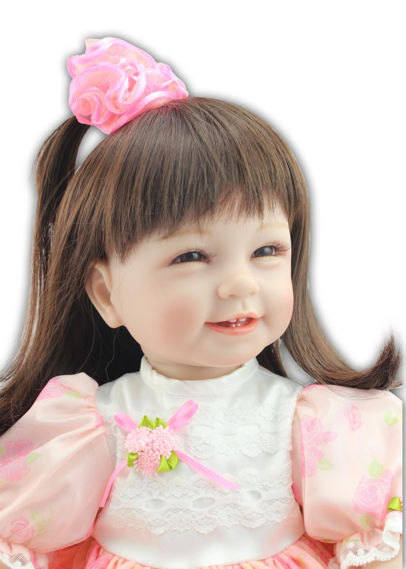 "bebe 22"" cute reborn baby girl dolls soft silicone reborn dolls for"