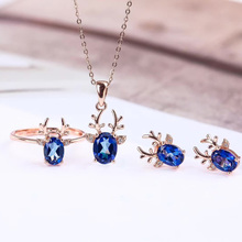 Christmas gift wholesale trendy rose gold 925 sterling silver natural blue topaz ring necklace pendant jewelry set for female vintage silver topaz pendant for party 10 mm 14 mm 5 ct natural topaz pendant rose gold color 925 silver topaz wedding jewelry