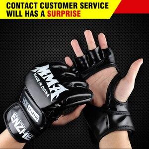 2018 Adult Thick Boxing Gloves MMA Gloves Half inger Sanda Taekwondo Fight MMA Sandbag Glove Professional Training Equipment(China)