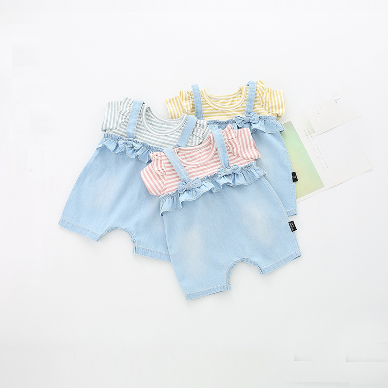 Summer Baby Kids Girls Striped Denim Jeans Ruffles Bow Patchwork Roupas Climb Rompers Infants Meninas Overalls Jumpsuits S6802