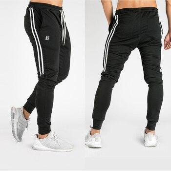fd90ed6c219 2018 Run мужские повседневные штаны черный джоггеры тренажерный зал бег  брюки для девочек для мужчин полосатая спортивная одежда спортивные ш.