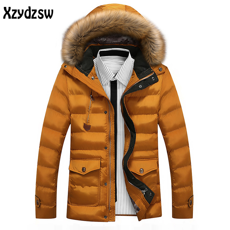 2016 New Winter Jacket Brand Solid Color Winter Jacket Men Fashion Warm Thick Cotton Jacket Winter Hooeded Coat For Men Male