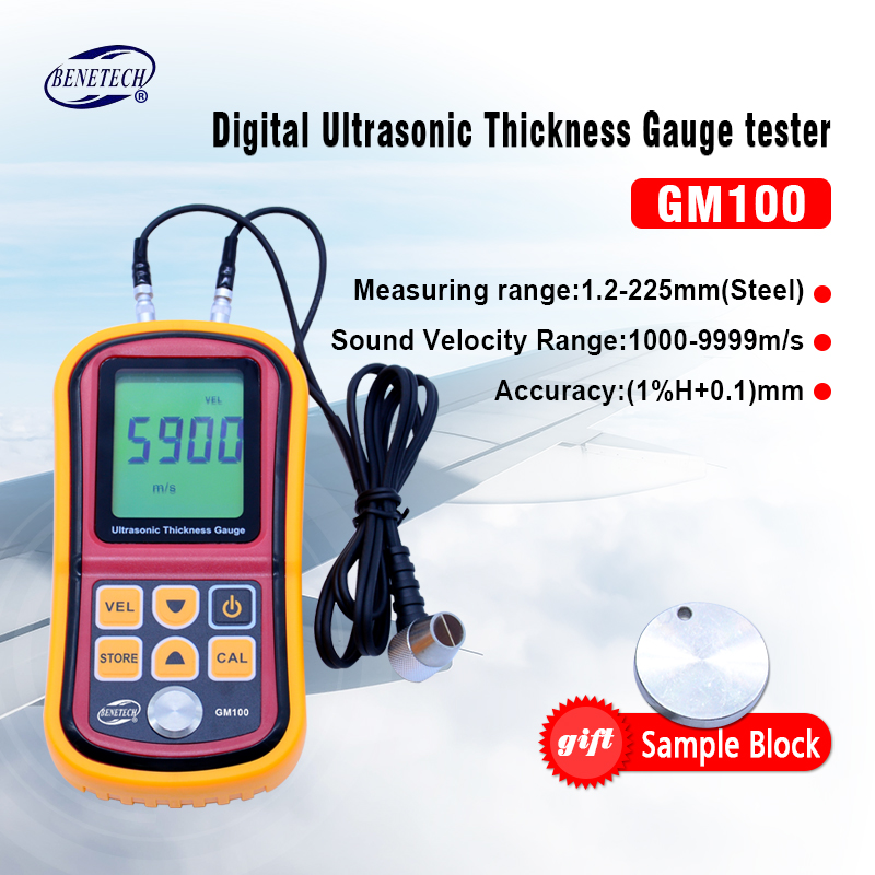 Benetech Ultrasonic thickness gauge GM100 1.2-225mm(Steel) Digital LCD Ultrasonic Thickness Meter Tester Gauge 0.1mm Resolution benetech gm610 1 75 lcd moisture meter black orange