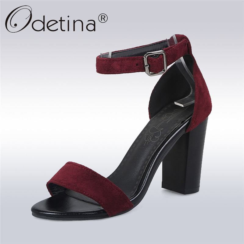 Odetina New Fashion Women Elegant High Heels Sandals Open Toe Square Heels Ankle Strap Lady Dress Shoes Summer Plus Size 33-48 thin high heels open the toe ankle wrap women summer crystal sandal shoes lady rhinestone sexy sandals plus size 31 48 sxq0509