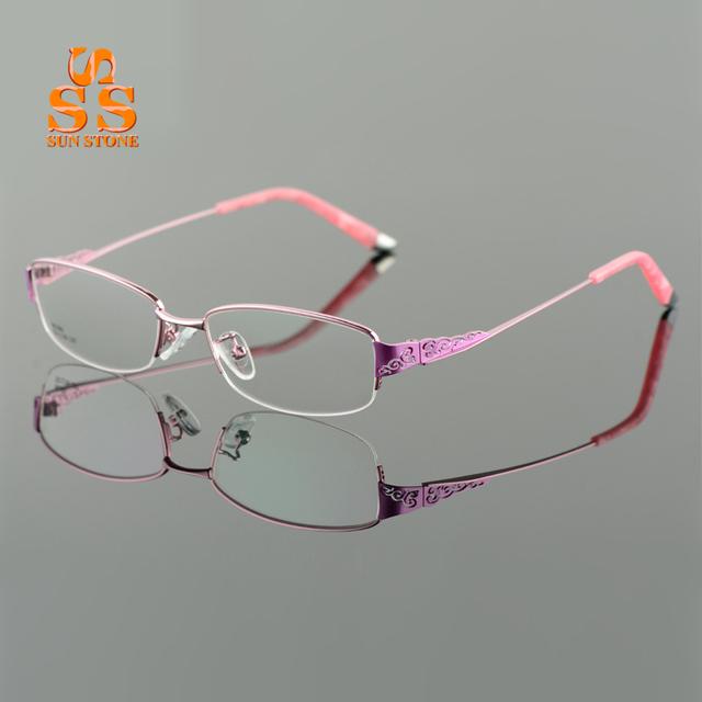 Designer de marca High-end Ultraleve Liga de Titânio Óculos de Armação Mulheres Moda Sem Dioptria Óptica Armações de Óculos de Prescrição F105