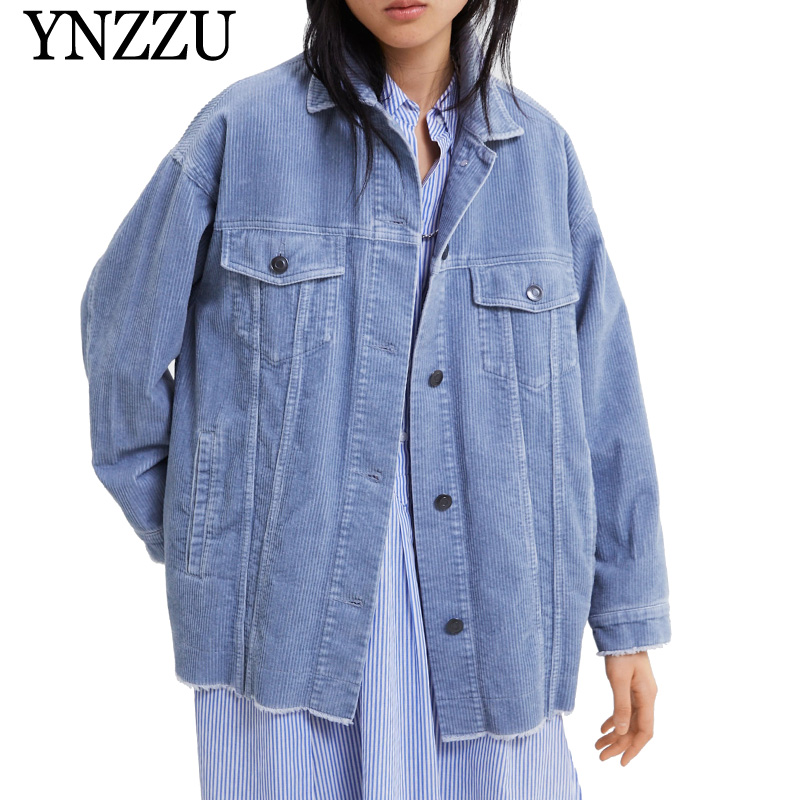 YNZZU 2019 Spring Corduroy Women   Basic     Jacket   Casual Yellow Blue Single Breasted Long Sleeve Loose Female Coat Autumn YO797
