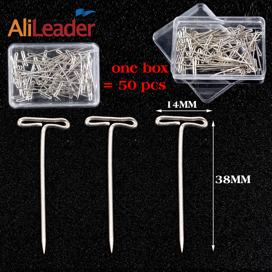 AliLeader 50 Pieces/Box 38mm Long Silver T Shape Needles Pin For Wigs On Mannequin Head Hair Weaving Tools Salon Styling Tools