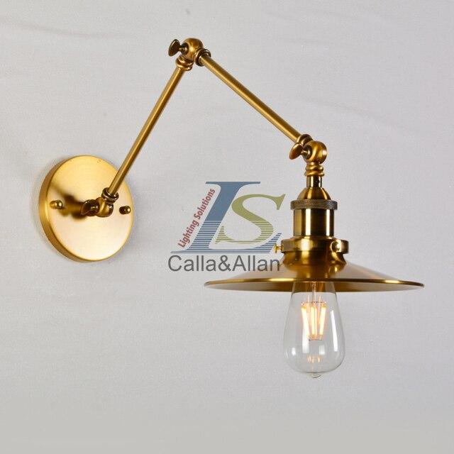 Industrie Schwinge Wandleuchte Messing Eisen Lampenschirm Leuchte