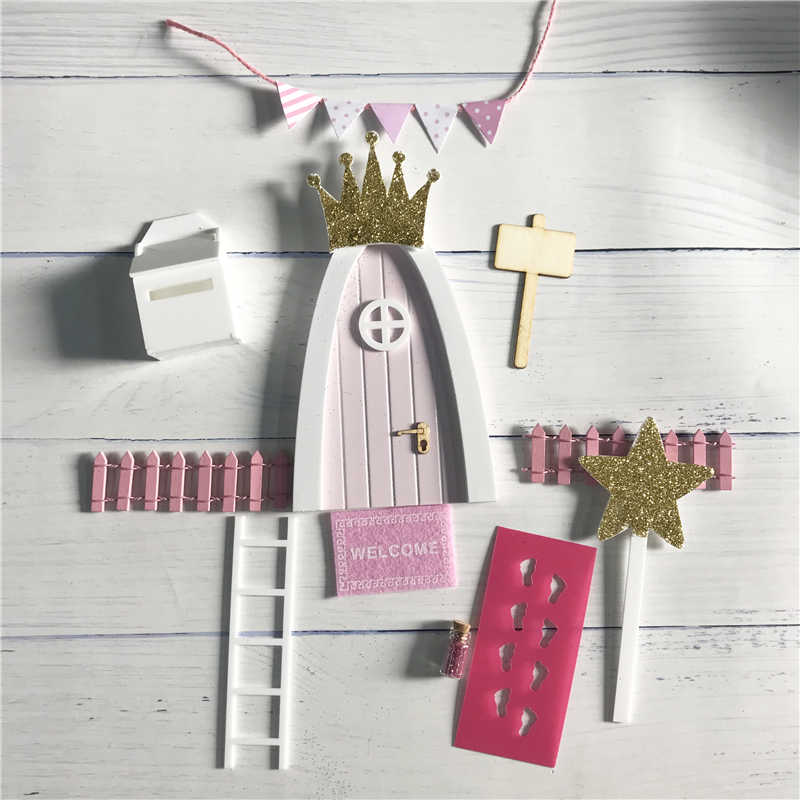 Hand Made pink Arch Fairy door great gift for girls miniature magic fairies tooth fairy door Set Dust Welcome Mat Feet Printer