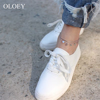 OLOEY Box Chain Disc Ankles for Women Girls Genuine 925 Sterling Silver Foot Bracelets Fine Accessories Jewelry Wholesale YMA007