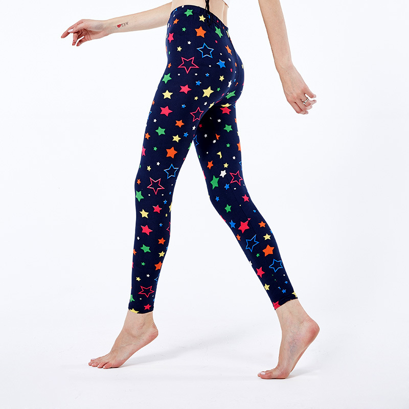 Womens Buttery Soft Stylized Colorful Stars Printed   Leggings   Bright Neon(like) Star Patterned   Leggings   Women Pants