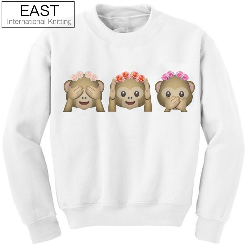 EAST KNITTING Fashion 2015 Autumn Winter Women Hoodies 3D Emoji Sweatshirt O-Neck Casual Print White Monkey Hoodies