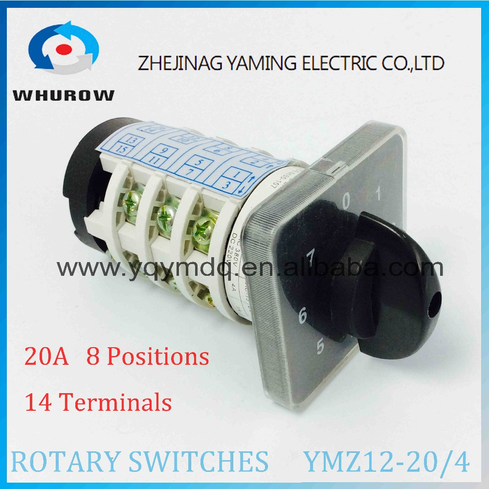Rotary switch YMZ12-20/4 electrical Combination Changeover cam switch 20A 4 pole 0-7 position sliver contacts high voltage rotary switch 3 positions lw6 2 b184 green changeover cam universal switch 380v 5a 2 pole 12 terminals sliver contacts