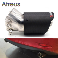 Universal Carbon Fiber Adjustable Angle Akrapovic Tip Exhaust Pipe for Kia rio soul Forte Hyundai I30 Creta Solaris Accent I20