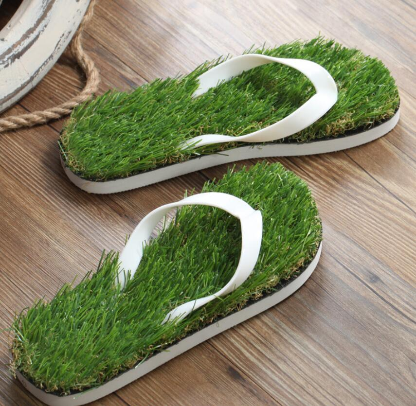 39 41 43 45 2017 Wholesale Man Grass Flip Flops Sandals Slippers New Thick Bottom Platform Slope Beach Male Lawn Grass Slippers