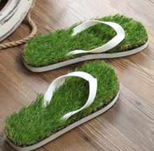 39 41 43 45 2017 gros homme herbe flip flops sandales pantoufles nouveau fond épais plate-forme pente plage mâle Pelouse herbe pantoufles