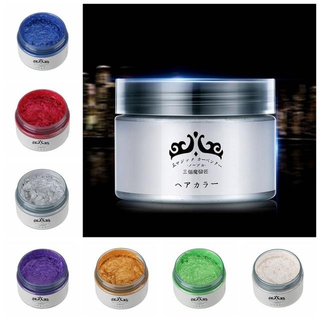 EE. UU. Envío Gratis mujeres hombres pelo Color cera tinte un solo estilo estilismo productos moldeo pasta 7 colores tinte para el cabello cera