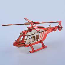 лучшая цена Helicopter Shape 3D DIY Assembly Wooden Puzzle Game Educational Collection Decoration Puzzles Model Building Kits for kids