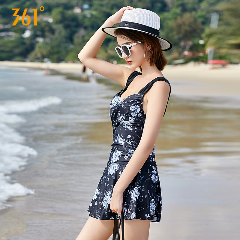 361 Push Up One Piece Swimsuit Tummy Control Print Swimming Suit for Women Beach Dress Plus Size Female Swimwear Modest Strap in Body Suits from Sports Entertainment