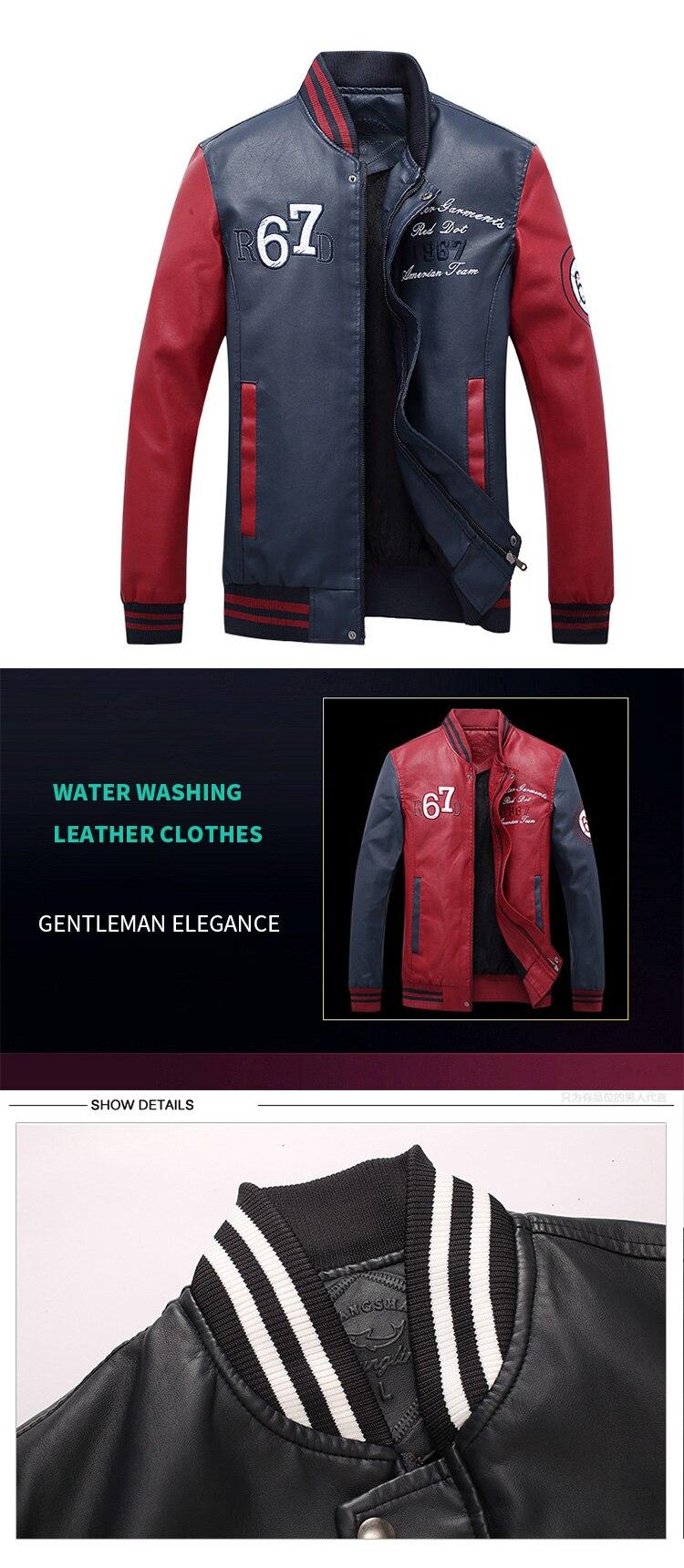 HTB1oUbwbUGF3KVjSZFmq6zqPXXaF New Men Pu Faux Leather Jacket 2019 Brand Embroidery Baseball Jackets Male Casual Luxury Winter Warm Fleece Pilot Bomber Coat