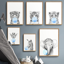 Lion Elephant zebra Giraffe Tiger Nursery Wall Art Canvas Painting Nordic Posters And Prints Pictures Baby Kids Room Decor